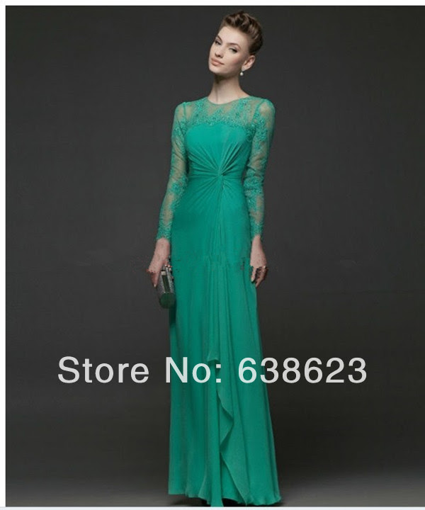 Long evening dress green