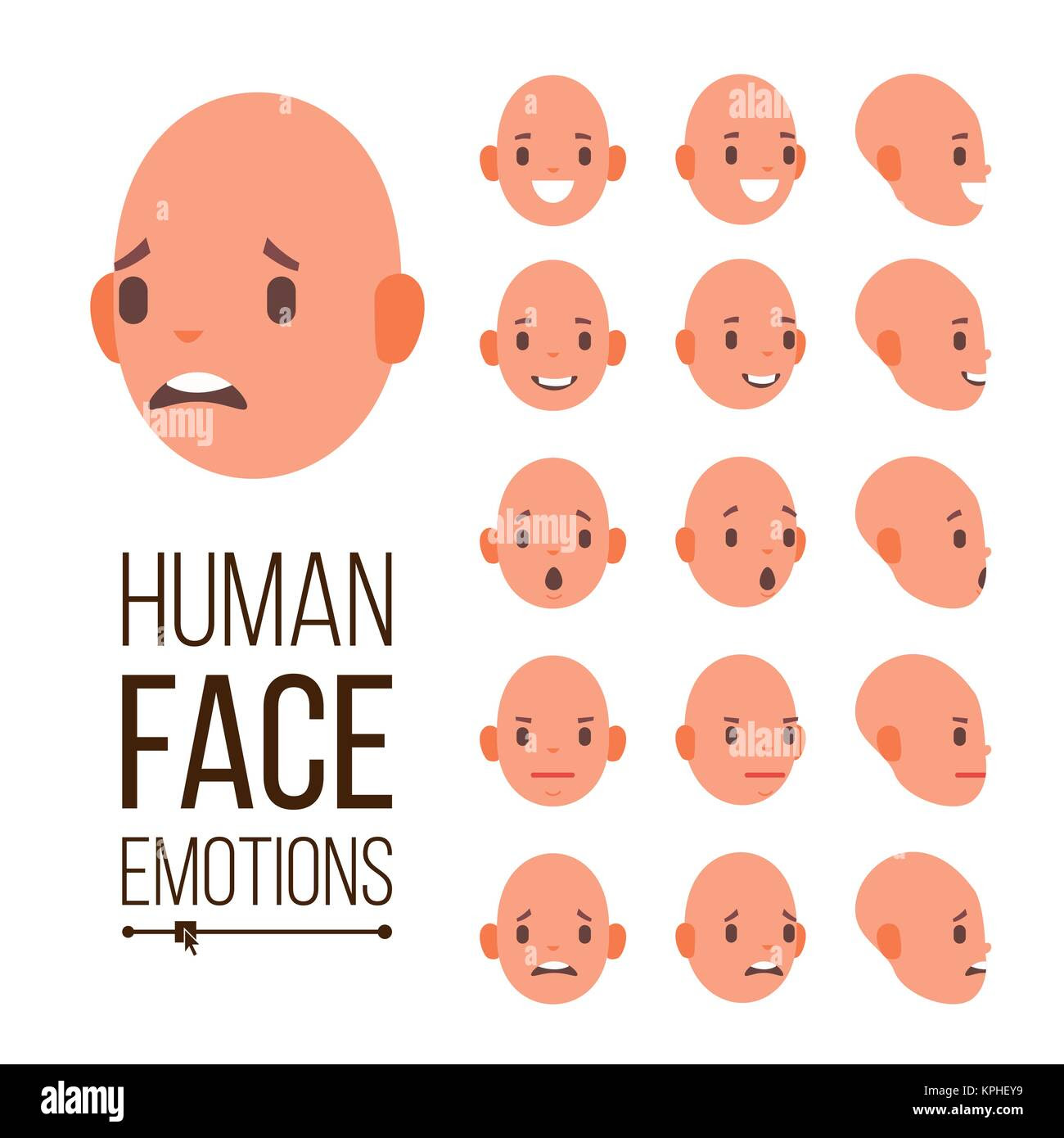 Human Emotions Vector Face Smiling Angry Surprised Laughing