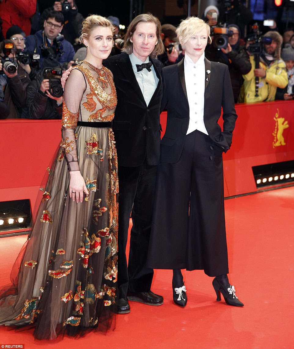 Three's company: (L-R) Greta Gerwig, director Wes Anderson and Tilda Swinton united for a photo opportunity at the event