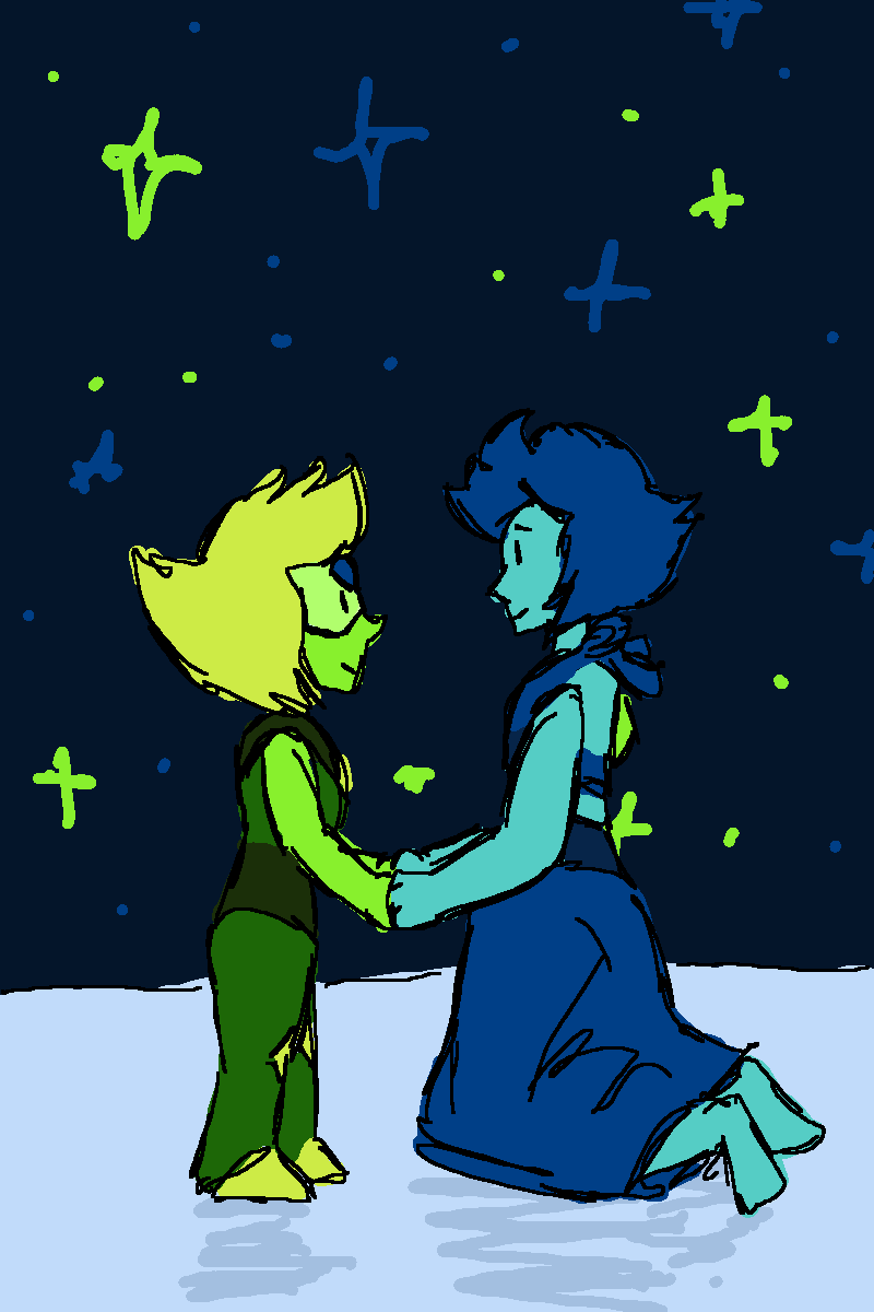 my contribution to lapidot week! lapis borrows the ocean for just a little bit so she can take peridot up to the stars