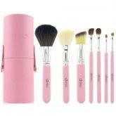 7 Pincéis Emily Makeup Rosa com Case + Brinde - FRETE GRÁTIS