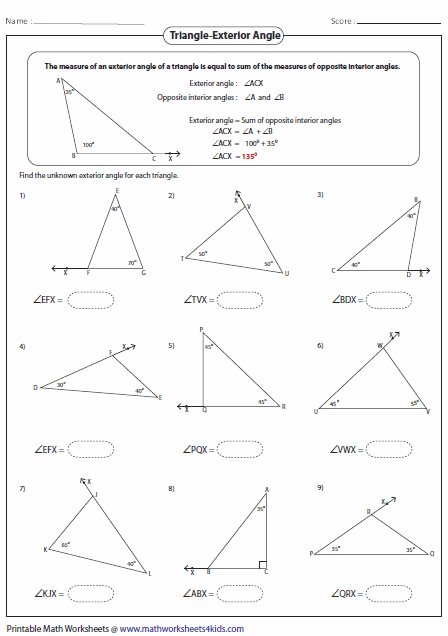 Missing Interior Angles Of Polygons Worksheet