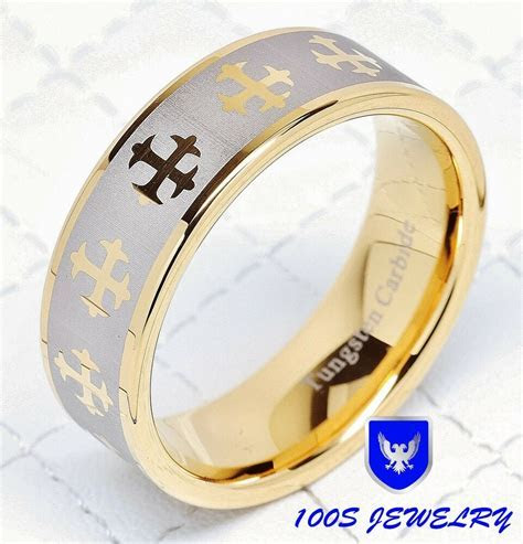 Mens Tungsten Carbide Ring Cross Brushed Gold Plated