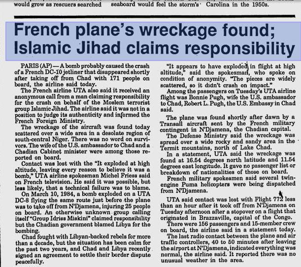 Islamic Jihad claims to UTA772