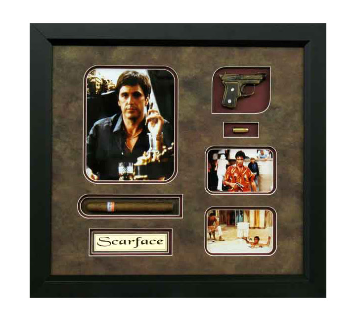 Framed Art Al Pacino Scarface Replica Gunbullets And Real Cigar