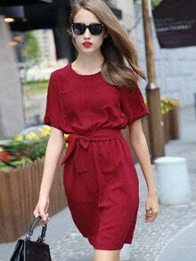 Red Short Sleeve Tie-Waist Casual Dress