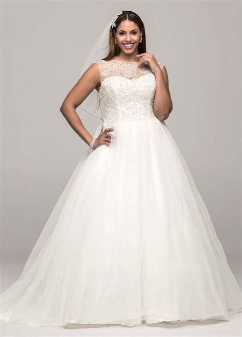 David's Bridal Cap Sleeve Tulle Ball Gown Wedding Dress