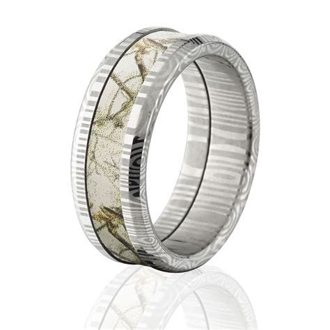 Damascus AP Snow Camo Rings, White Camo Wedding Bands