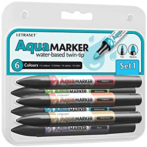 Letraset AquaMarker 6 Pen Set 1