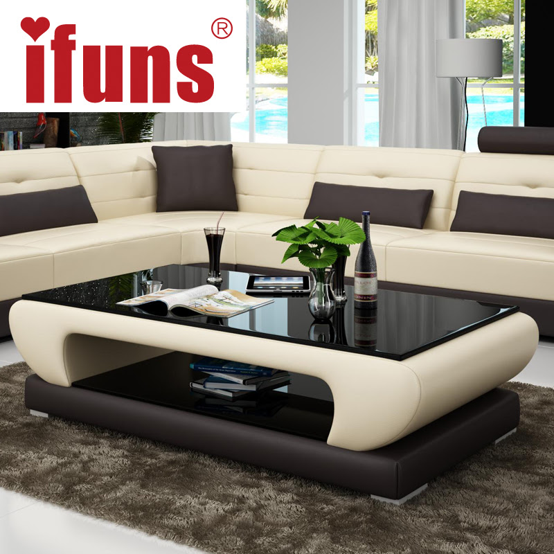 IFUNS Living room furniture modern new design coffee table glass top wood base coffee table small
