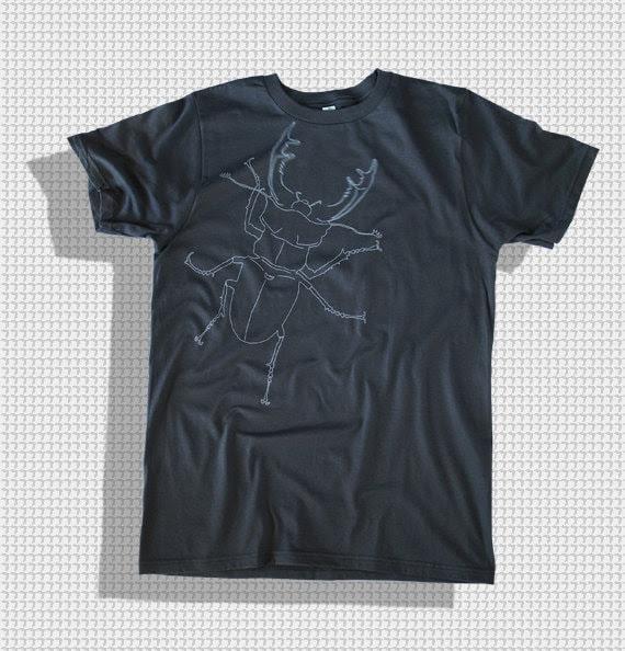 Beetle ORGANIC COTTON  dark T-shirt - slim fit animal men's tee