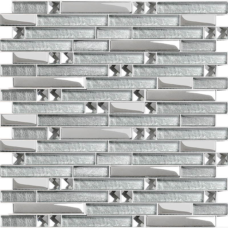 Metal Diamond Glass Mosaic Wall Silver Stainless Steel Backsplash