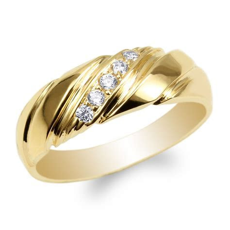 Womens Yellow Gold Plated Round CZ Luxury Wedding Band