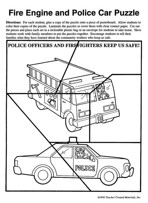 Fire Engine and Police Car Puzzle - Pre-K and Kindergarten
