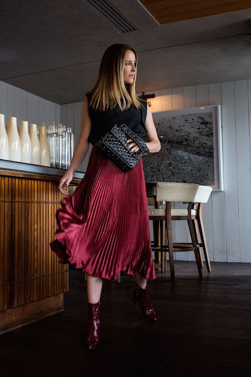 Le Fashion Blog Black Top Red Pleated Midi Skirt Maroon Patent Leather Boots Via Oracle Fox