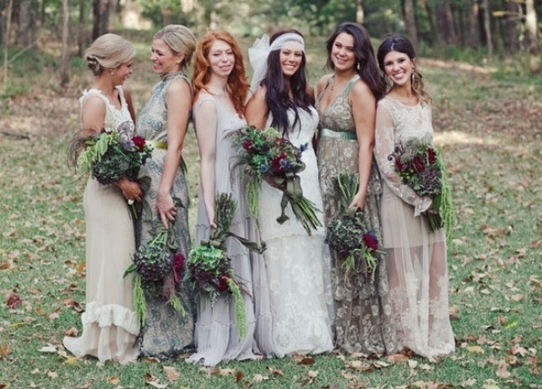 Rustic Casual Grey Mismatched Bridesmaids Collection