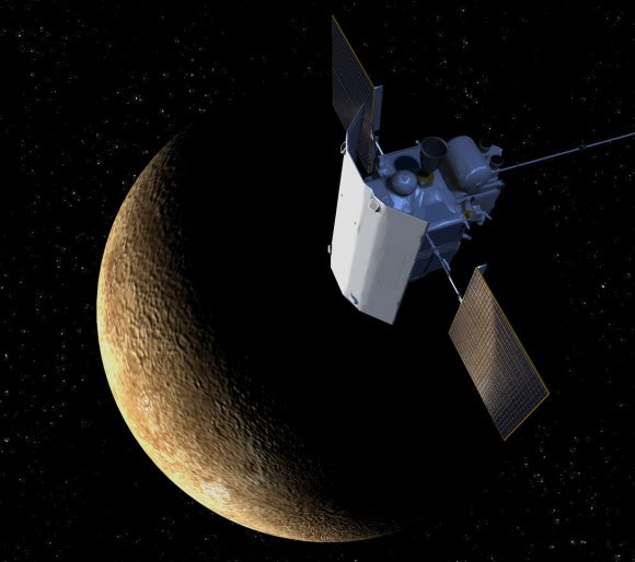 Artist's impression of the MESSENGER spacecraft, with Mercury in the background. Credit: JHUAPL