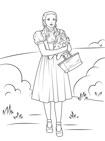 dorothy holding toto coloring pages