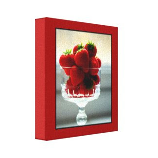 Strawberry Bowl Wrapped Canvas wrappedcanvas