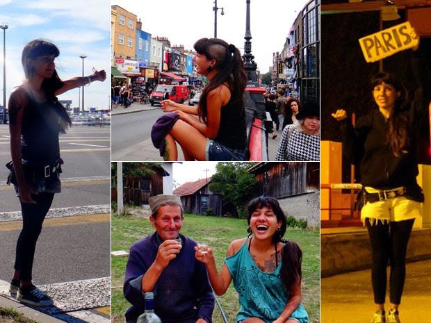 Aline Campbell durante sua viagem pela Europa; pegando carona (fotos dos extremos), em Londres (acima) e com um senhor que conheceu na Sérvia (abaixo) (Foto: Aline Cambell/Arquivo pessoal)