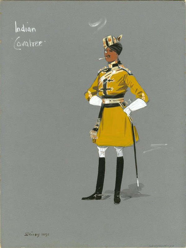 watercolour sketch of Indian soldier in gold uniform & monocle