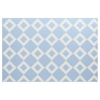 Airy Light Blue and White Diamond Pattern Fabric