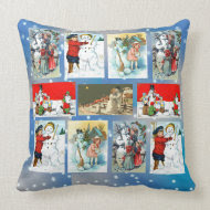 Vintage Snowman Images Throw Pillows