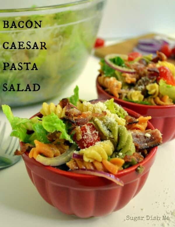 Bacon Caesar Pasta Salad on www.julieseatsandtreats.com
