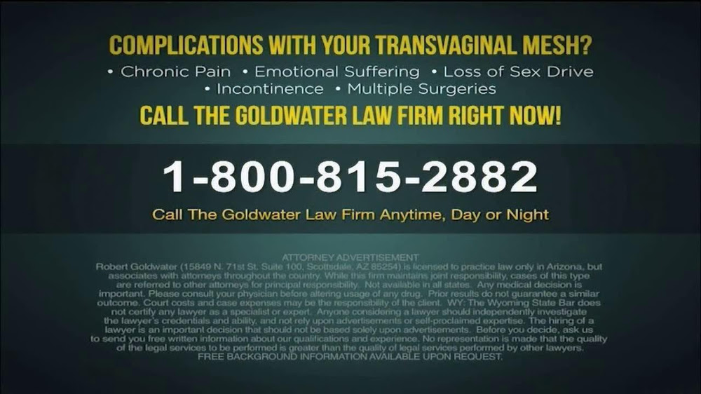Goldwater Law Firm TV Spot, 'Transvaginal Mesh Complications' - iSpot.tv