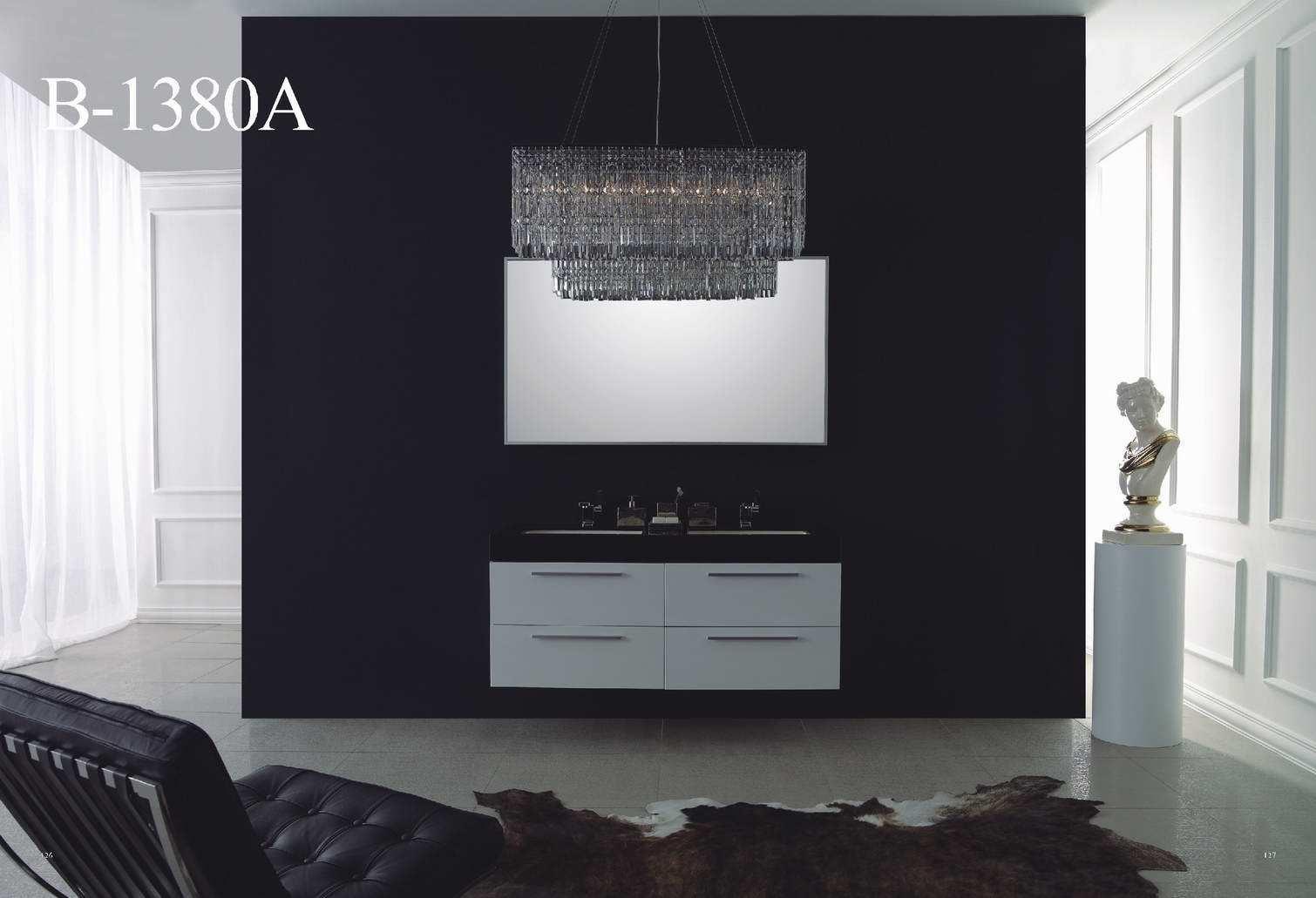 High Gloss White Bathroom Furniture with Black Countertop Basin ...