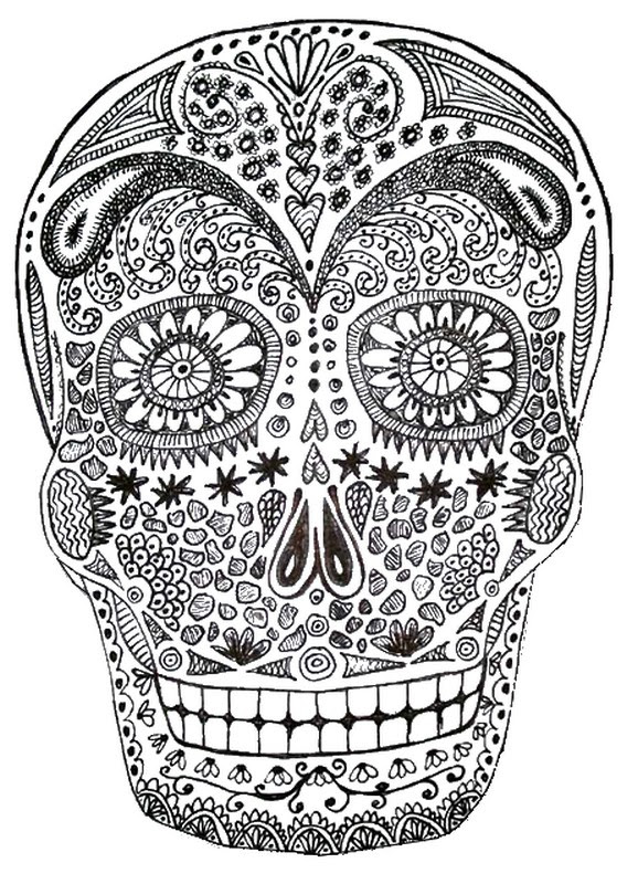 Dibujo Para Colorear Relajante Halloween Calavera 6