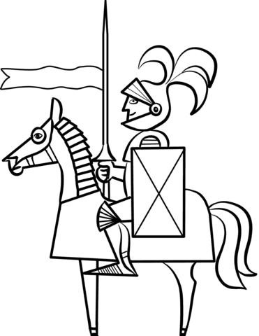 Disegno Di Cavaliere Cartone Animato Sul Cavallo Da Colorare