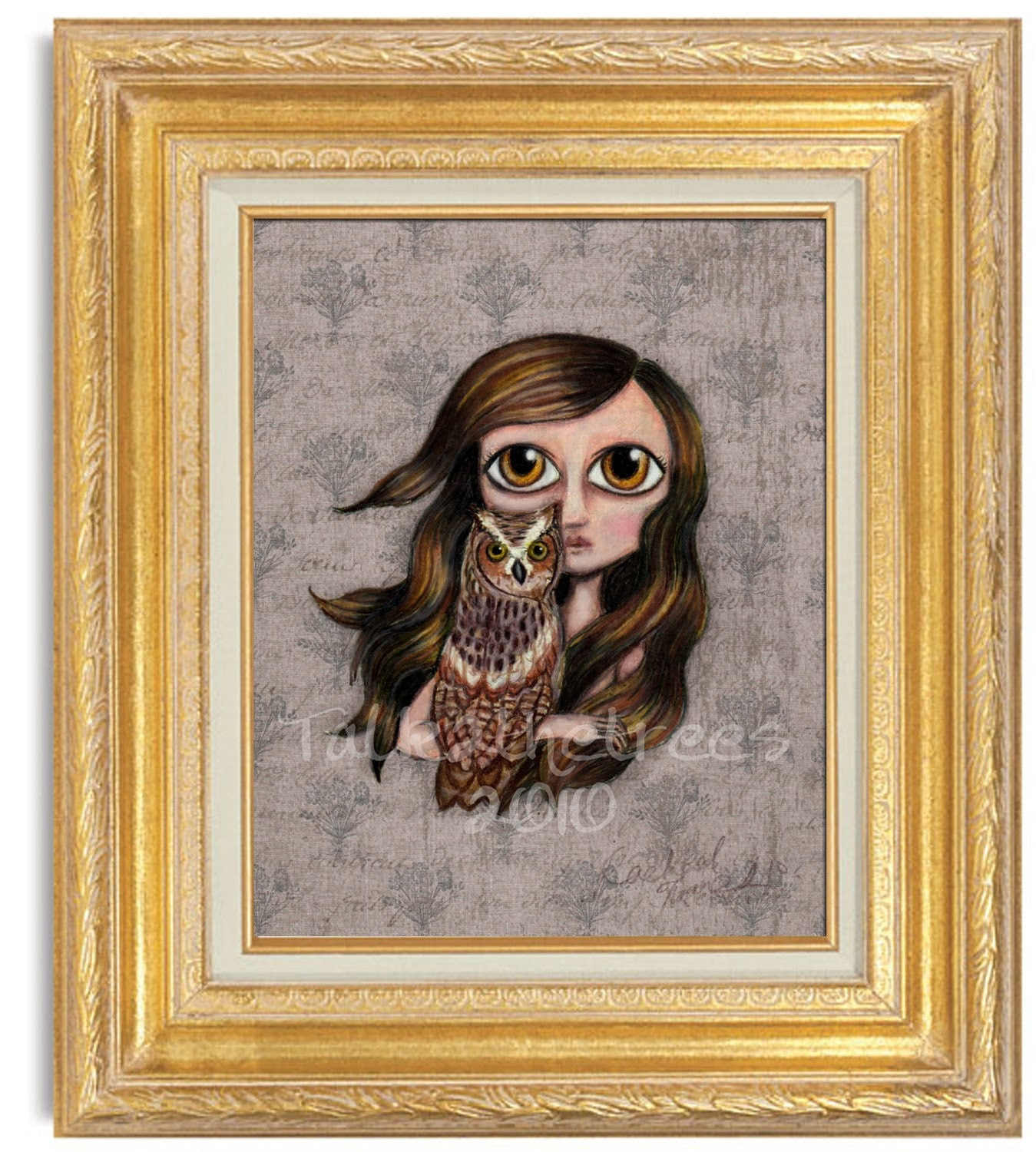 Ellie and Her Owl 5x7 Print mixed media painting big eyed girl woodland animal