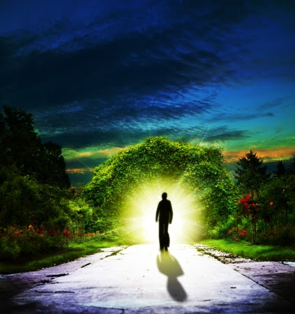 Walking to Eden  Abstract spiritual backgrounds Stock Photo - 14149591