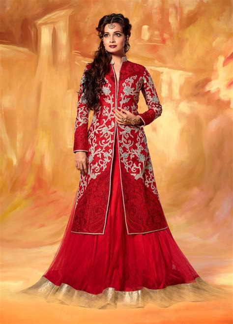 Diya Mirza jacket style Red long anarkali dress in net and