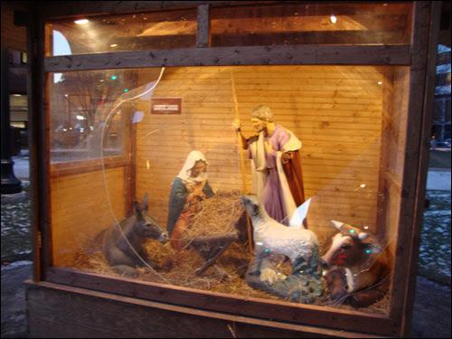 Vandalized nativity scene, Old City Hall