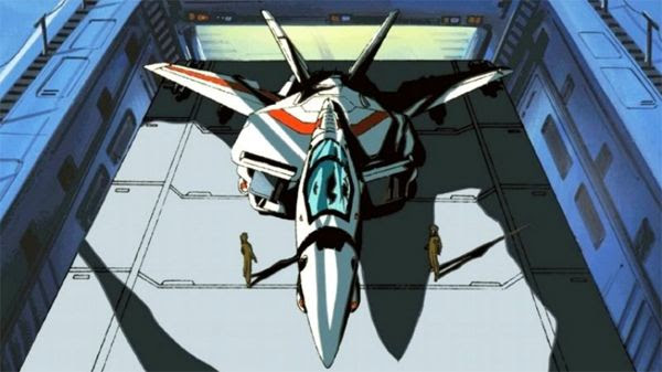 The Veritech Fighter piloted by Rick Hunter is ready to fly off into battle in the classic ROBOTECH cartoon.