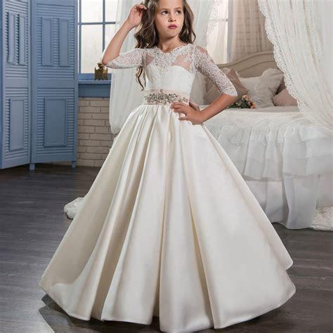 Princess White Lace Satin Girls Dress Long Girls Formal