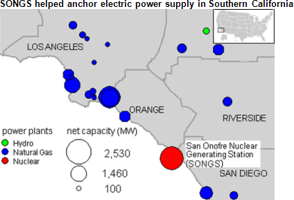 Map of Southern California power supply, as explained in the article text
