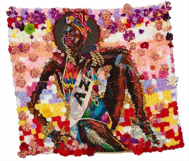 Athi-Patra Ruga, Uzuko Wool, Thread & Artificial Flowers on Tapestry Canvas 200 x 180 cm