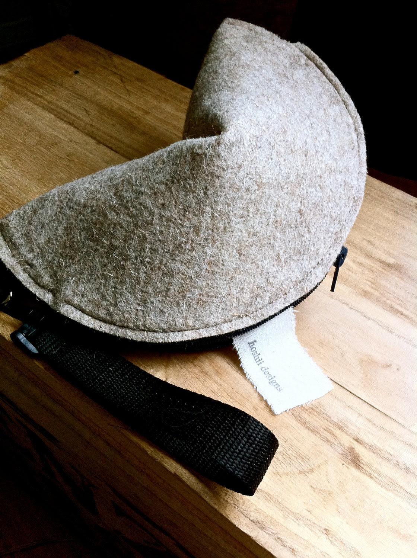 FORTUNE COOKIE CLUTCH Wristlet Purse Natural Wool Felt zipper cute novelty renewable