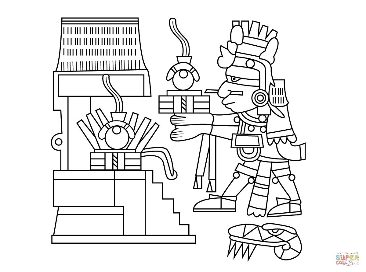 Dibujo De Xiuhtecuhtli Dios Azteca Del Fuego El Día Y El Calor Para
