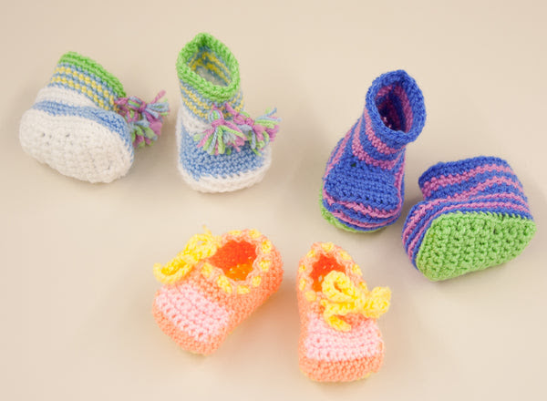 Candy Color Booties Pattern (Crochet)
