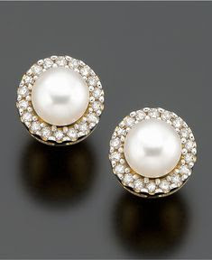 pearls ringed with diamonds.