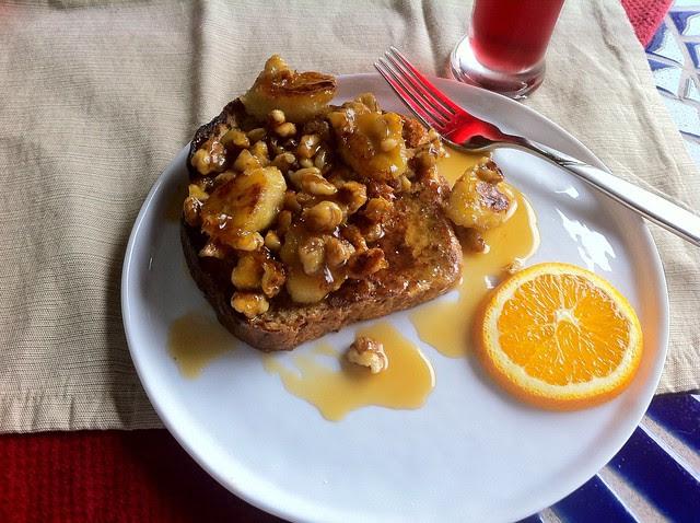 Banana Honey French Toast Plated