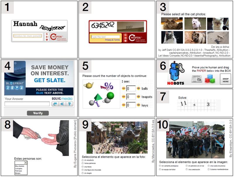 10 tipos diferentes de captchas. Consulta el artículo orginal para una descripción detallada de cada uno
