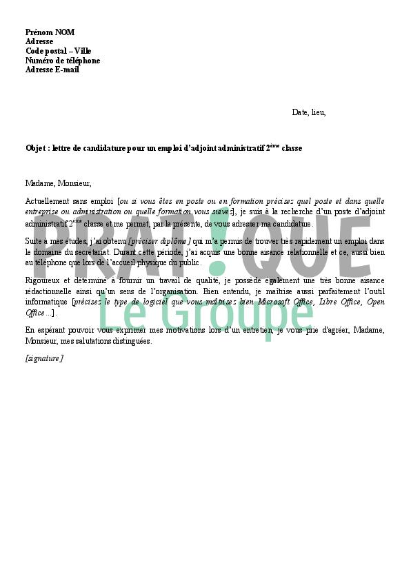 lettre de motivation adjoint administratif sans concours gratuite