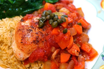 chicken with carrots, tomatoes, and capers