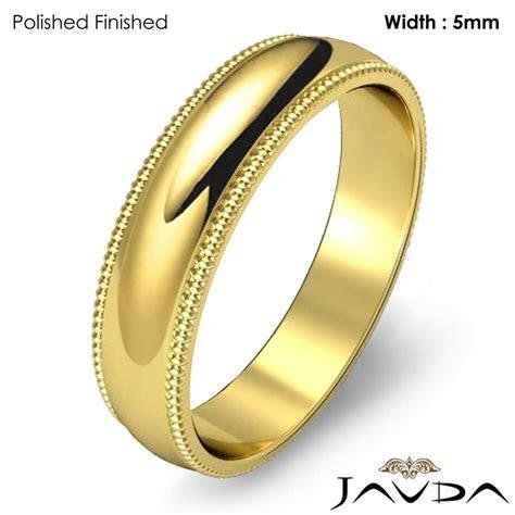 Men Wedding Band 18k Gold Yellow Dome Milgrain Edge Solid