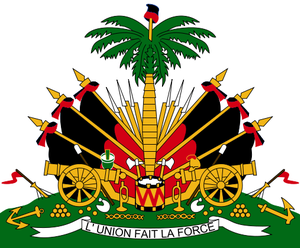 The coat of arms of Haiti from the Duvalier er...